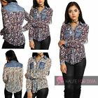 Womens New Casual Paisley Denim PU Button Up Shirt Long Sleeve Vintage Cuff Top