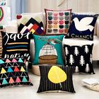 Geometric Printed Sofa Decor Cotton Linen Square Pillow Case Throw Cushion Cover