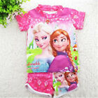 2Pcs Frozen Ann Elsa Kids Swimwear Toddler Girls Swimsuit Split Swim Pants Set