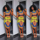 2Pcs Traditional African Print Dashiki Retro Bodycon Tops Stretch Bohemia Dress