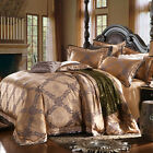 Golden grayFree ship Queen/King Combed Cotton 4pc duvet cover set/bedding set