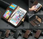 Genuine Real Cowhide Leather Zipper Wallet Card Case Cover For iPhone 6S 7&Plus