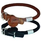 Genuine Leather Soft Rolled Dog Collar Small w/ Engravable Round Tag Adjustable