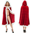 Adult Christmas Sexy Mrs Dress Women Cosplay Costume Maid Hooded Cloak Hat Red