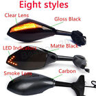 MOTORCYCLE BLACK LED TURN SIGNALS MIRRORS FOR KAWASAKI NINJA 650R 500R 250R 636 $27.99 USD