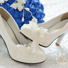 Pearl White Lace Butterfly Wedding Bridal Shoe High Heels Flat Party Fit