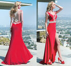 Women Sexy Slim Lace Red Long Formal Evening Party Cocktail Prom Gown Dress