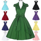 Vintage 50s 60s Cocktail Retro Swing Pinup Evening Party Bow Prom Lapel Dress
