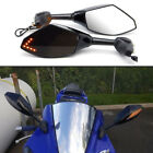 Black Motorcycle LED Turn Signal Side Mirrors For Yamaha YZF R6 YZF600 R1 FZR600 image
