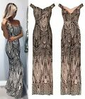 NUDE BLACK ILLUSION SEQUIN BARDOT STRETCH  MERMAID MAXI PROM PARTY DRESS S M L