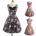 Vintage Floral Printed 50'S 60'S Swing Party Prom Fashion Women Rockabilly Dress