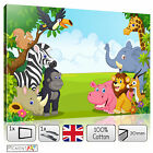 Jungle Zoo Canvas - Nursery Children Bedroom - Nature Picture Print Wall Art