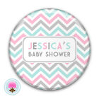 Personalised CHEVRON Pink, Grey, Mint Baby Shower, Mum to Be 58mm PIN BADGE