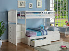 Wood Bunk Bed with Reversible Stairs & Built-in 4 Drawer Chest - White