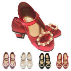GIRLS CHILDREN KIDS WEDDING BRIDESMAID LOW HEELS SANDALS SHOES SIZE 7-3