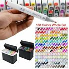 168 80Colour Graphic Marker Pen Touch New Art Sketch Five Twin Tip Broad Fine UK