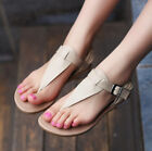 Womens sandals shoes flats Genuine leather Beach shoes clip toe Rome casual new