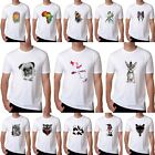 2017 New Cute Animal Pattern White T-shirt Mens Short Sleeve Casual Tee