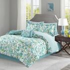 Aqua Teal & White Paisley Comforter Set AND Matching Sheet Set - ALL SIZES