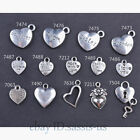 Внешний вид - 10/50/100 Pieces 14 Style Heart Charms made With Love Tibetan Silver DIY Jewelry