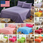 Bed Flat Sheets Twin Full Queen Size Bedding Fitted Sheet Pillowcase Solid Color image