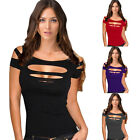 Summer Sexy Design Deep V Cut String Sleeves Cut Holes T-Shirts Halter Tank ZON