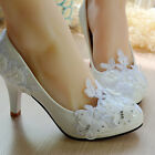 Lady Party Pearl White Lace Butterfly Bridal Bride Shoe oAUr High Heel Lady