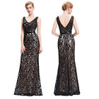 Vintage 50s Long Sequin Mermaid Evening Gown Prom Party Formal Bridesmaids Dress