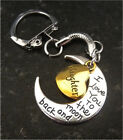 LOVE YOU TO THE MOON AND BACK MUM DAD SON DAUGHTER  KEYRING WITH FREE GIFT BAG