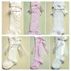 BABY GIRLS SPANISH STYLE KNEE HIGH DOBBY SPOT LONG RIBBON DOUBLE BOW SOCKS