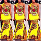 Sexy Woman Yellow Oblique Shoulder African Dashiki Print Long Dress Club Party