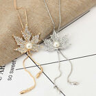 Simulated-pearl Long Chain Maple Leaf Necklace Vintage Women Jewelry 1pc