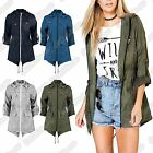 New Ladies Festival Plain Fishtail Kagool Parka Showerproof Raincoat Hooded Coat