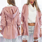 Pink Coat Jacket Trench Women Hooded Parka Long Windbreaker Outwear Lightweight