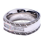 R7 Men's Stainless Steel Silver CZ Micro Paved Band Ring Size 8-13