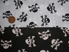 Black and white Skull & Crossbones Poly/cotton Pirate fabric price per metre