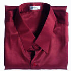 Mens Thai Silk Shirt Long Sleeve Burgundy Casual Formal Dress / S M L XL 2XL 3XL