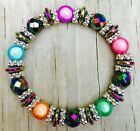 Rainbow Magnetic Hematite Therapy bracelet w colorful colored lucites all sizes