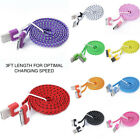 FLAT BRAIDED 3FT fabric charge cable cord nylon FOR iphone 4 4s & ipod data sync