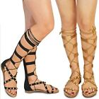 New Womens Ladies Flat Studded Lace Up Rolling Gladiator Knee High Sandals Size
