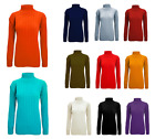 Women Cable Knitted Full Sleeve Polo Roll Neck Top Jumper Sweater Blouse