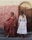 VTG CHIC VICTORIA OLIVIA LUXE FLORAL EMBROIDERED PRINT HOLIDAY MIDI SHIRT DRESS