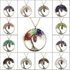 Natural Amethyst Labradorite Chip Beads Tree Of Life Copper Owl Pendant Necklace