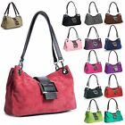 Big Handbag Shop Womens Real Italian SMALL Mini Suede Leather Bag with Faux Trim
