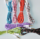 50 Lot AUX BRAIDED 3FT CABLES FOR iphone 6 4 4s 5 5s ipod mp3 amp car pc stereo