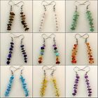 Natural Amethyst Lapis Lazuli Agate Citrine Chip Beads Silver Hook Earrings