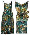 New M&S Per Una Cotton Floral Green Dress Size 6-24 50s Rockabilly Tea Sun Retro