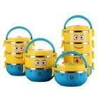 Cute Cartoon Minion Stainless Steel  Lunch Box For Kids With Plastic Tiffin Boxe