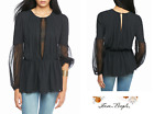 FREE PEOPLE Sz LARGE The Soul Serene Top Black New Tags bt