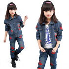 Blue Denim Jackets & Jean Pants Cotton Long Sleeve Red Lips Spring Fall SZ 3-12Y